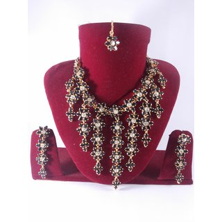 Party Bridal Imitation Jewellery-Beautiful Black Necklace Set With Mang Tika J1