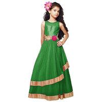 Najara Fashion Green softnet partywear girl frock gown(stiched)