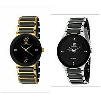 IIK  Silver- Golden Round Shaped Analog Watch  COMBO - For Men BY MISS