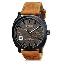 Curren Stylish Military Khaki Leather Strap Watch