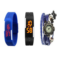 Girls Black And Blue Robotic Led Watches For Men, Women + Blue Vintage Watch For Women BY MISS