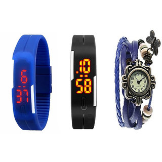 Girls Black And Blue Robotic Led Watches For Men Women + Blue Vintage Watch For Women BY MISS