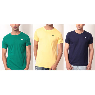 Combination of Round-Neck T-Shirt Cotton Green, Yellow and Navy Blue!