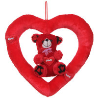 Deals India Cute  Red Love Teddy in Heart Ring Stuffed soft plush toy Love- 40cm