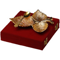 Gold Plated Brass Three Leaves Tray With Spoon For Gift