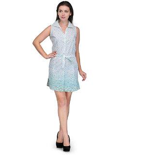 Crease Clips Polka Printed Collar Neck Dress Cum Tunic Drs1021WhiteGreen