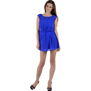 Crease Clips Georgette Knife Pleated Dress Cum Tunic Drs1001-Blu