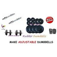 Bodyfit 10 Kg Home Gym+Adjustable Dumbbells +2 Dumbbell Rods+Gloves