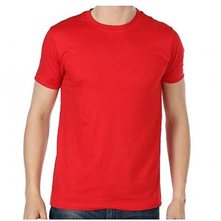 Red Mens Round Neck Plain T-shirts