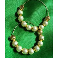 Golden flower pearl hoops earrings