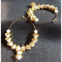 Golden flower cover pearl hoops earrings