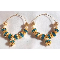 Blue valvet golden flower cover hoops earrings