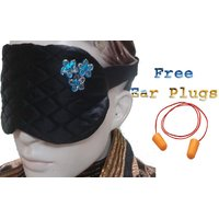 SilkyWorld Black Flower Sleep Eye Mask With FREE Shipping And Ear Plugs