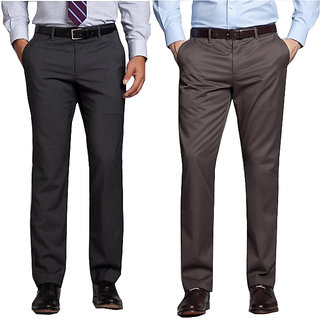 Men's Multicolor Regular Fit Formal Trousers