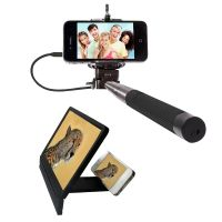 Novel Selfie Stick with Aux for all Mobiles with 3D Glass Enlarger(Combo)