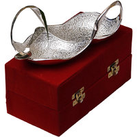 Anand Kala Mandir Silver Plated Brass Twin Swan Bowl