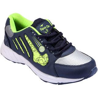 Spot On Men Navy Blue Green Running Shoes