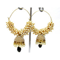 Black Drop Leheriya Jhumka Earring
