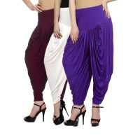 Fashion And Freedom Women's Pack of 3 Maroon, White And Violet Lycra Base Vis...
