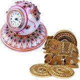 Marble Table Clock N Get Wood Tea Coaster