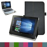 """Acer One 10 S1002 Case,Mama Mouth PU Leather Folio Stand Cover for 10.1"""" Acer One 10 S1002 Detachable 2-in-1 Laptop/Tablet,Black"""
