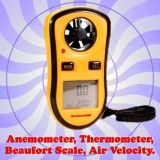 Gadget Hero's Digital LCD Pocket Anemometer Wind Speed Meter Thermometer Beaufort Wind Scale, Handheld Ideal For Weather Enthusiast Or Professional.