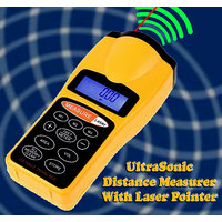 Gadget Hero's Ultrasonic Distance Measure Meter With Laser Pointer Distance  60 Ft / 18 Mt, With LCD Display.