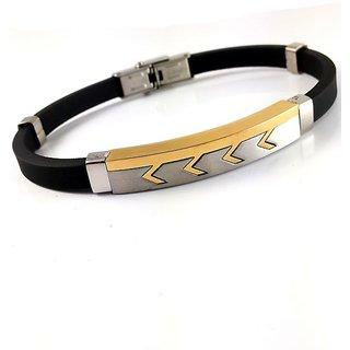Gold Plated Brush Finish Loop Arrow Design Elegant Bracelet For Men