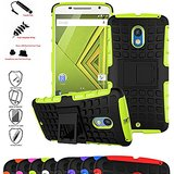 MOTO X Play Case,Mama Mouth Shockproof Heavy Duty Combo Hybrid Rugged Dual Layer Grip Cover with Kickstand For Motorola MOTO X Play XT1562 2015 (With 4 in 1 Free Gift Packaged),Green