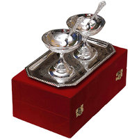 Festival Gift Silver Plated Brass Ice Cream Bowls With Tray