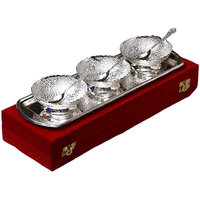 Wedding Gift Silver Plated Brass Bowl And Tray Set Of 7 Pcs