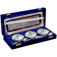 Anand Kala Mandir Silver Plated Brass Apple Shaped Bowl With Tray Set Of 7 Pcs
