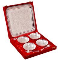 Festival Gift Silver Plated Brass Bowl With Tray Set Of 9 Pcs