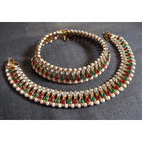 Double line multi color kundan anklets