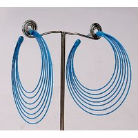Blue big hoops earring