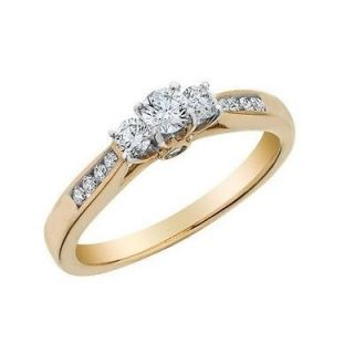 Vorra Fashion Round Cut CZ 14K Gold Plated 925 Silver Engagement Ring In All Sz