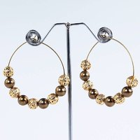 Golden & brown ball hoops earrings