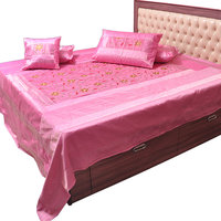 5 Piece Pink Embroidered Silk Double Bed Cover Option - 3