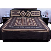 5 Piece Brown Jaipuri Silk Double Bed Cover Option - 5