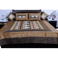 5 Piece Brown Jaipuri Silk Double Bed Cover Option - 3