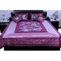 5 Piece Jaipuri Magenta Silk Double Bed Cover Option - 2