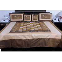 5 Piece Brown Jaipuri Silk Double Bed Cover Option - 2