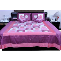 5 Piece Pink Embroidered Silk Double Bed Cover Option - 2
