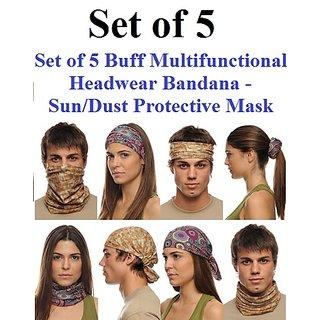 Set of 5 Buff Multifunctional Headwear Bandana - Sun/Dust Protective Mask Codemq-4708