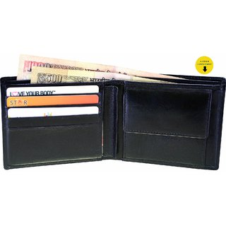 Arpera Black Genuine Leather Mens Wallet