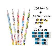 FNC Pencils Pack ( Set of 100 Pencils 10 Sharpeners 10 Erasers)