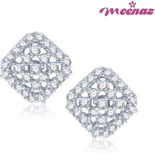 Meenaz Glamstar Beauty Rhodium Plated CZ Earings T108