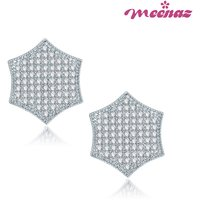 Meenaz Love Hearted Rhodium Plated CZ Earings T119