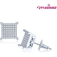 Meenaz Eye-Catchy Rhodium Plated CZ Earings T123