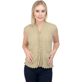NumBrave Beige Sleevless Self-Design Knitted Cardigan For Women